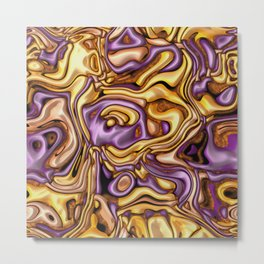 funky melted purple and gold Metal Print