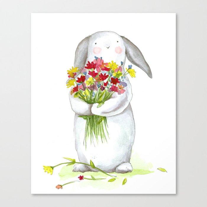 Flower Bunny Nursery Art For Children Canvas Print