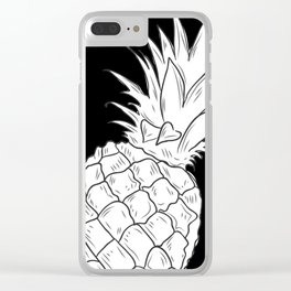 BLACK & WHITE PINEAPPLE Clear iPhone Case