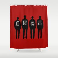 tim burton Shower Curtains featuring Tim, Damian, Dan & Andy by Byway