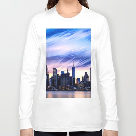 Romantic City Cityscape with Light Sunset and River Long Sleeve T-shirt