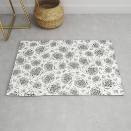 Full Bloom - Floral Print in Black and White Rug