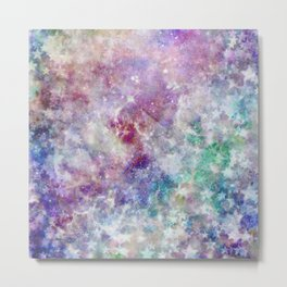 Rainbow Stars Space Galaxy Pattern Metal Print