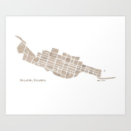 Telluride Colorado Map Art Print