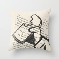 mad hatter Throw Pillows featuring Mad Hatter by Jordan Renae Arp