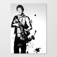 daryl dixon Canvas Prints featuring Daryl Dixon by Black And White Store