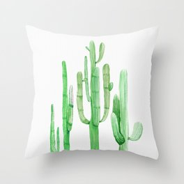 Three Amigos Cacti Green Throw Pillow