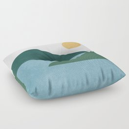 Sunny Lake - Abstract Landscape Floor Pillow