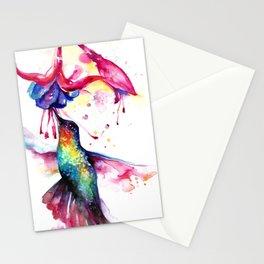 Rainbow Hummingbird in Flowers with Nectar Stationery Cards