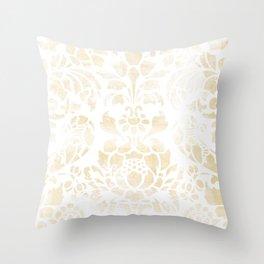 Vintage Floral Pattern White Wash Throw Pillow
