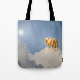 Walking on clouds over the blue sky Tote Bag