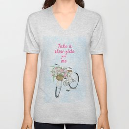 Take a Slow Ride With Me White Bicycle Flower Basket Unisex V-Neck