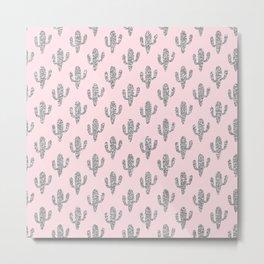 Modern blush pink faux silver glitter floral cactus Metal Print