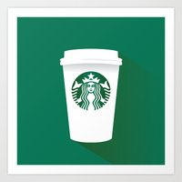 starbucks Art Prints featuring starbucks  by Daryl Beaney