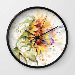 Hand In Hand (Butterfly & Sunflower) Wall Clock