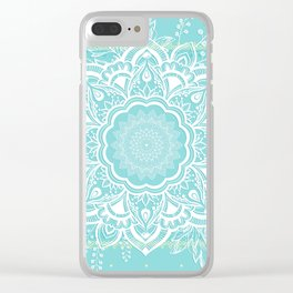 mandala bohemian embellishments floral medallion turquoise Clear iPhone Case