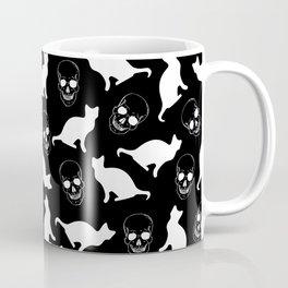Skulls, Cats, Black and White, Pattern Coffee Mug