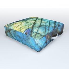 Royal Labradorite Crystal Agate Gemstone Print Outdoor Floor Cushion