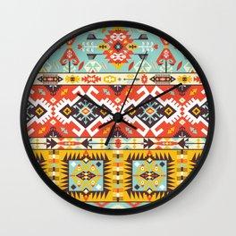 Modern Native American Pattern 4 Wall Clock