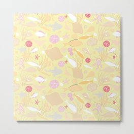 underwater life - pink/yellow Metal Print