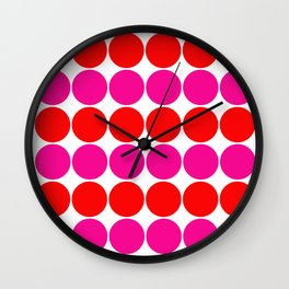 Luxury colored dots pink red on white 70s look Wall Clock