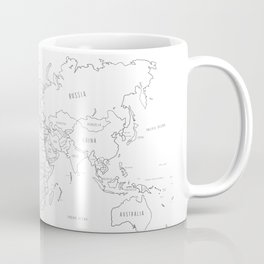 World Map minimal sketchy black and white Coffee Mug
