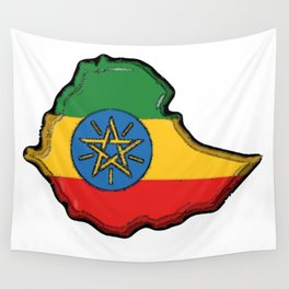 Ethiopia Map with Ethiopian Flag Wall Tapestry