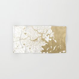 Boston White and Gold Map Hand & Bath Towel