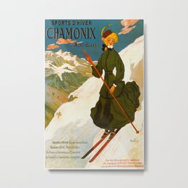 Vintage Chamonix Mont Blanc France Travel Metal Print