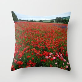 Pink Poppies in a field of Red Throw Pillow