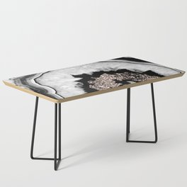 Gray Black White Agate with Rose Gold Glitter #1 #gem #decor #art #society6 Coffee Table