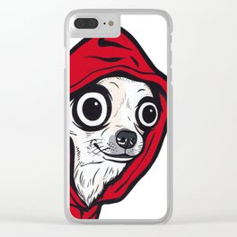 Chihuahua Red Hoodie Clear iPhone Case