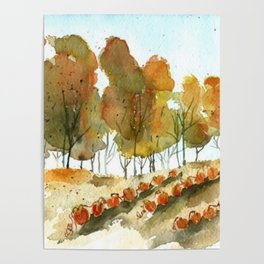 Autumn Trees and Pumpkin Patch Watercolor Poster