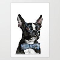 boston terrier Art Prints featuring Boston Terrier by Orestis Lazos