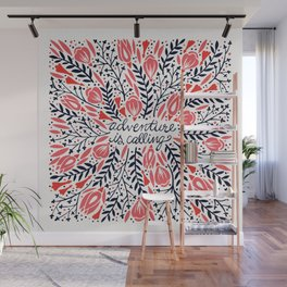 Adventure is Calling – Red & Black Palette Wall Mural