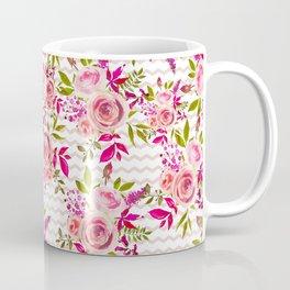 Geometrical pastel pink coral watercolor roses zigzag pattern Coffee Mug