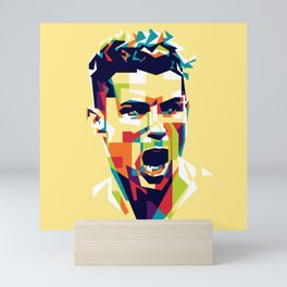 colorful illustration of ronaldo Mini Art Print