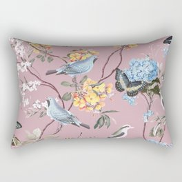 BIRDS, BLOSSOMS & BUTTERFLIES BLUSH Rectangular Pillow