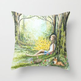 Forest Meditation Throw Pillow