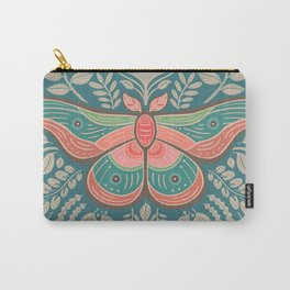 Moth Floral   Teal Carry-All Pouch