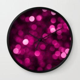 Hot Pink Glitter Bokeh Wall Clock