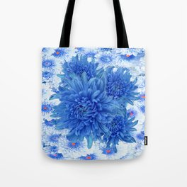 Oriental Style  Blue Chrysanthemums Garden Floral Pattern Tote Bag