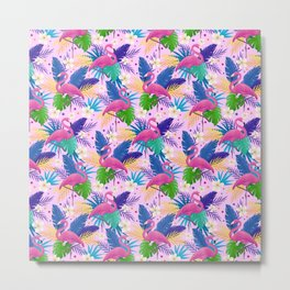 Pink Flamingo Tropical Funny Gift for Birds Lovers Metal Print