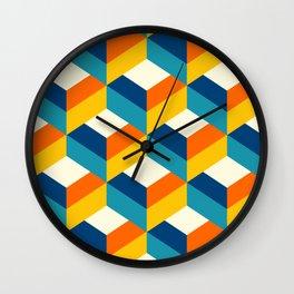 Retro colors 3D choco drops pattern Wall Clock