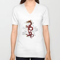 oriental V-neck T-shirts featuring Oriental Dragon by MacDonald Creative Studios