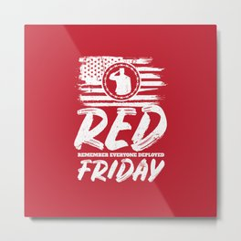 Remember Deployed Red Friday USA Soldier Metal Print
