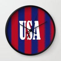 usa Wall Clocks featuring USA by Caio Trindade