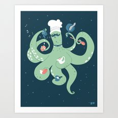The Octopus Chef Art Print