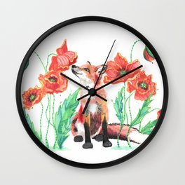 Paws & Smell the Poppies Wall Clock