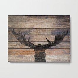 Rustic Black Moose Silhouette A424b Metal Print